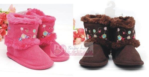 °☆~衣著紡~☆°歐美品牌 寶寶繡花毛毛可愛童靴/ 靴子/嬰兒馬靴/寶寶靴/出清250