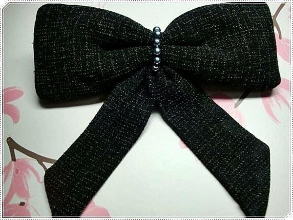 SK手作~ 立體直挺仿珍珠黑色白小點針織立體蝴蝶結髮夾. 彈簧夾. 髮飾 頭飾 髮箍 髮帶