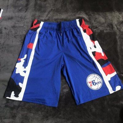 NBA籃球短褲 費城76人隊 ALLEN IVERSON 口袋版 籃球褲 藍色 正版