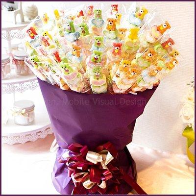 【抽取式花束-QQ小熊軟糖+愛心棉花糖串X100支+花束底籃(紫)X1個(限宅配)】--生日分享/幼稚園獎品/幸福朵朵