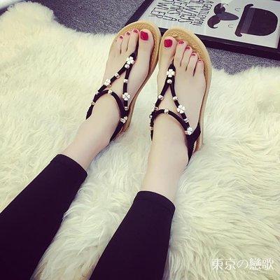 涼鞋 夾腳指平底波西米亞涼鞋 東京戀歌