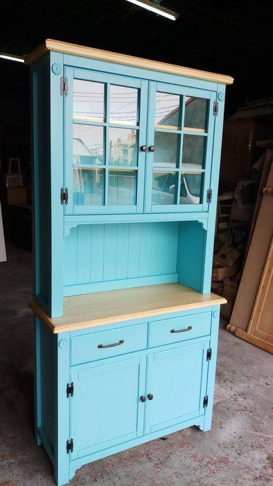 鄉村家具 客製化 訂製品 美生活館 茵儷 全紐松 雙色 (淺木色+藍色) 餐櫃 碗盤櫃 收納櫃 茶水櫃 也可修改尺寸報價