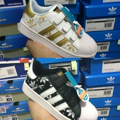 免運【日貨代購屋】代購 日本限定 最新配色 ADIDAS ORIGINALS SUPERSTAR 金標魔鬼氈童鞋