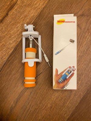 全新-Mini monopod 超迷你輕巧掌上型自拍神器 伸縮式 線控 隨插即用