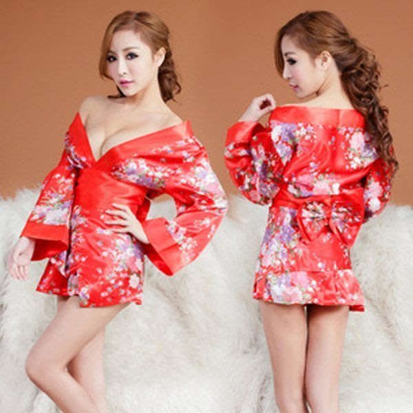 5Cgo 【鴿樓】會員有優惠  18527862020 美姬 和風日式印花和服旗袍套裝 女式情趣內衣遊戲制服誘惑