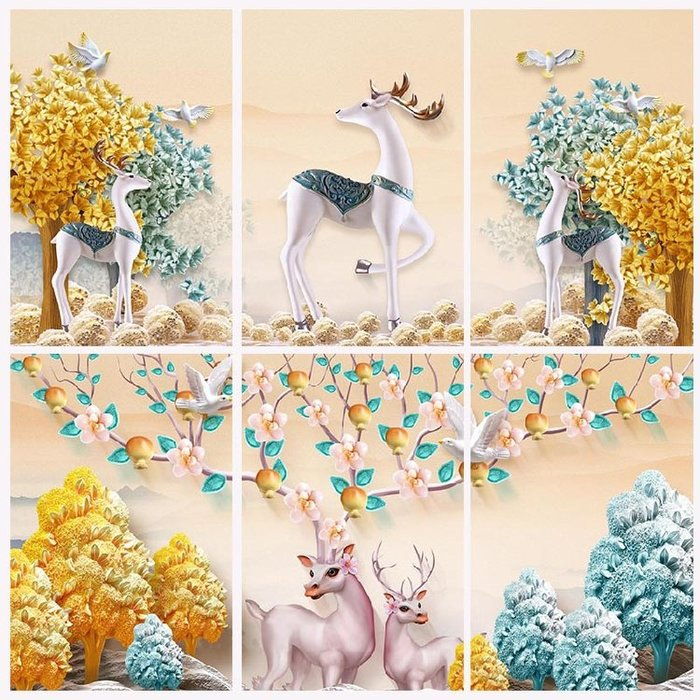 現代新中式抽象浮雕麋鹿玄關裝飾畫客廳懸掛歐式掛畫牆畫