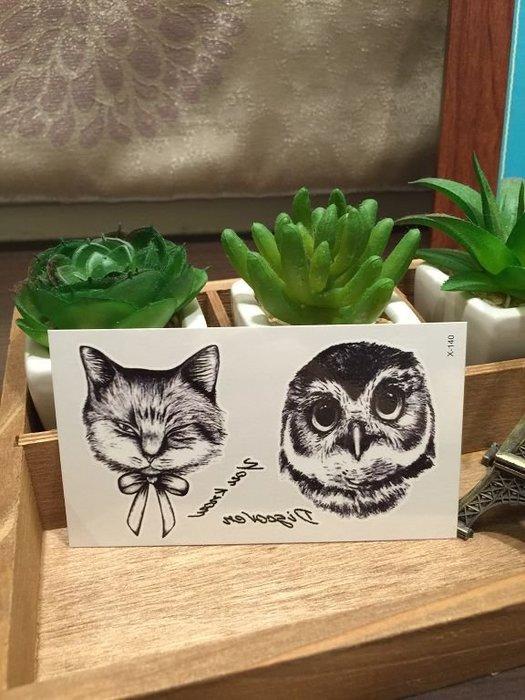【萌古屋】X系列貓與貓頭鷹X-140 - 男女防水韓風簡約紋身貼紙原宿刺青貼紙