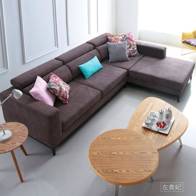 L型沙發【UHO】幸福節奏L型棉麻布沙...