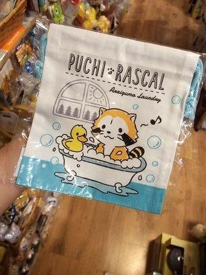 100% 原裝日本 可愛 Puchi Rascal 小浣熊 浣熊仔 多用途 索繩袋 束繩袋 小物袋 Bag  made in japan 日本製