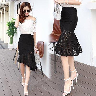 半身裙 連身裙 春夏新款不規則高腰蕾絲裙荷葉邊半身裙女百搭中長魚尾裙