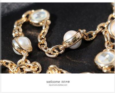 包包背帶雙面鉆 珍珠鏈銀色淺金 裝飾包包鏈條配件包帶肩帶小包包鏈金屬鏈