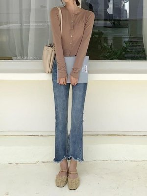 ZIHOPE 喇叭褲新款高腰藍色微喇叭褲牛仔褲女九分CHIC寬管褲ZI812