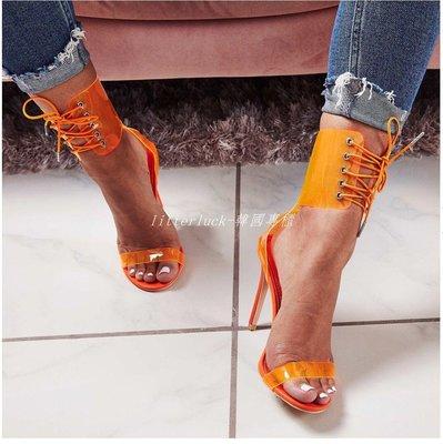 litterluck-韓國專櫃Transparent PVC clear high heeled shoes網紅性感透明高跟涼