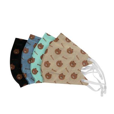 現貨!絕版袋裝 台灣製AOK 熊大 3D立體口罩-咖 黑 丹寧 L M 成人兒童 卡通 1袋5入