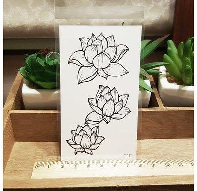 【萌古屋】線條蓮花 - 男女防水紋身貼紙原宿刺青貼紙 T-187