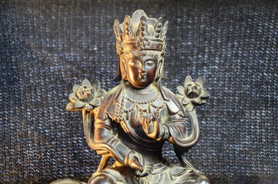 【準提坊】普賢菩薩,精緻老木雕,h34*w20*d14公分,重約2.4公斤