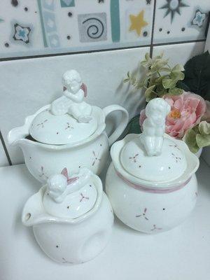 [日本帶回] 小天使茶壺+奶精罐+糖罐
