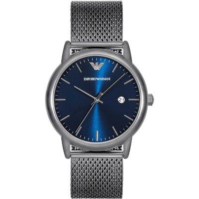《Vovostore》Emporio Armani 超薄藍底鐵灰色網狀鍊錶*附購證、保証書*(4600含郵)