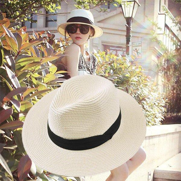 爆款--韓國白色草帽防曬遮陽帽子女夏天英倫禮帽韓版出游百搭潮流沙灘帽#帽子#鴨舌帽#潮流#小清新