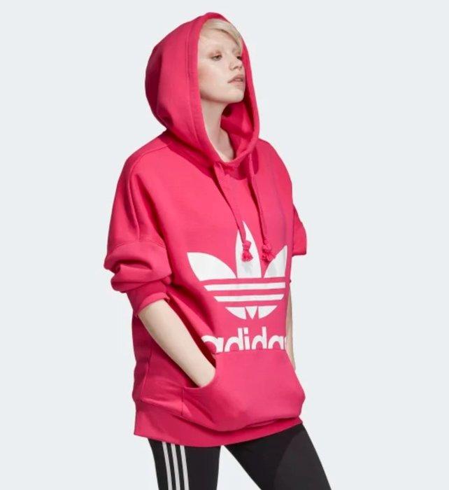 【美國鞋校】現貨 adidas 三葉草19冬新品 女休閒套衫 衛衣 帽T EC1890 桃色