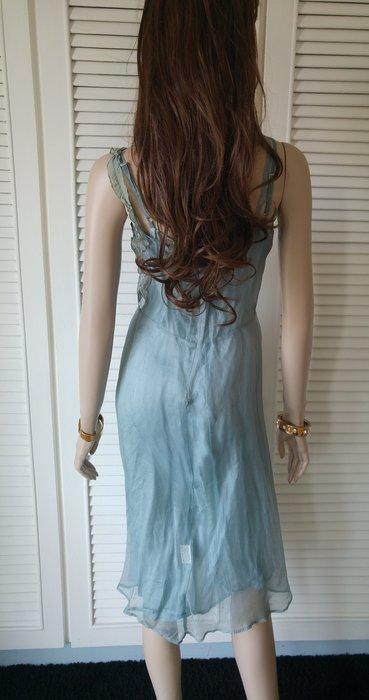 TARA JARMON 法式優雅  wedgwood藍100% silk dress 另有白色 桃紅色