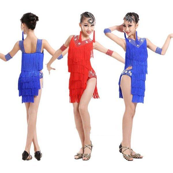 新款少兒女童拉丁舞裙服裝演出服比賽服成人女高檔燙鑽流蘇裙舞衣