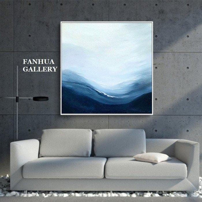 C - R - A - Z - Y - T - O - W - N 藍白抽象掛畫極簡方形抽象三聯畫空間設計裝飾畫