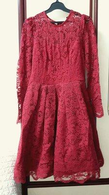 MOMA 酒紅色蕾絲小禮服洋裝類似銀穗,巧帛,iroo,Le polka,0918,特價2300含運費