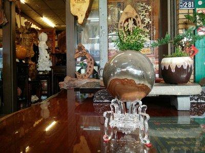 (台南寶麗古典傢俱藝品館)~石來運轉千萬年珍貴天然紋路色彩礦石~玉質QQQ漂亮~直徑12含座高20公分~重2.365公斤