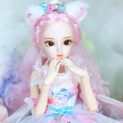 1/4 BJD娃娃Dairy Queen粉紅色頭髮 關節身體粉紅色可愛貓咪衣服鞋,45cm商品規格不同 售價不同@om22539