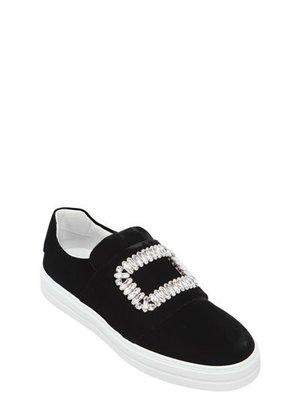 ~The Black Dan Moccani~ [特價] ROGER VIVIER SNEAKY 天鵝絨 水鑽方釦懶人鞋