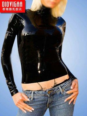 CD偽娘乳膠衣上衣外套T恤長袖女款緊身高彈力可加3D胸高領fetish latex