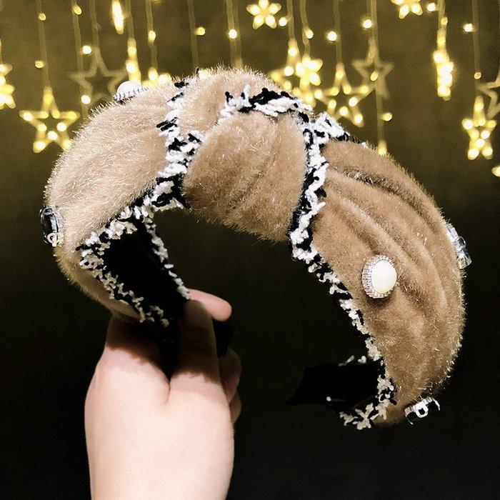 韓國布藝水鉆仿珍珠發箍女打結時尚頭箍網紅發卡女2018新款頭飾品