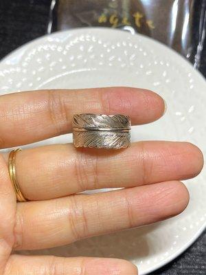 【現貨】agete專櫃正品 純銀羽毛寬版戒指 尺碼13
