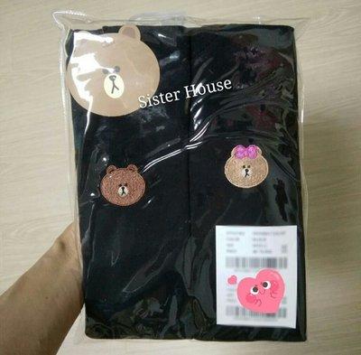 LINE Friends Brown & Choco Black Tee 熊大熊妹黑色T恤 (一套兩件)