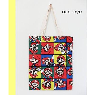 one eye 童趣塗鴉滿版瑪莉兄弟電玩帆布購物手提肩背袋