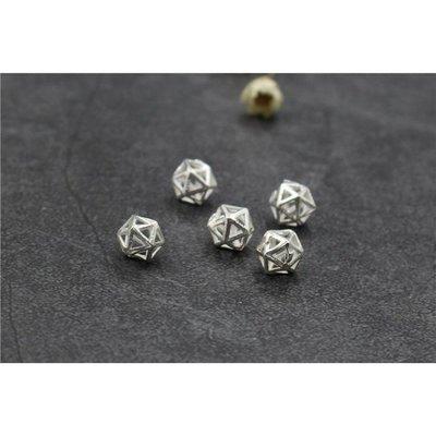 正純銀7m幾何角珠墜子手作材料 國際標準925純銀串珠材料~。水晶森林手創館925純銀材料批發賣場