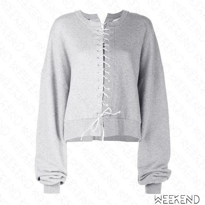 【WEEKEND】 UNRAVEL 切割 拼接 綁帶 寬鬆 長袖 衛衣 大學T 上衣 灰色 19春夏