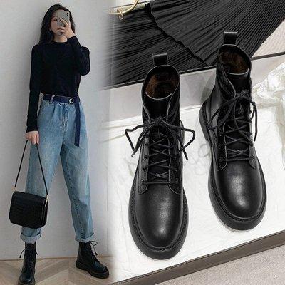 墨染·正品2121年秋冬新款真皮馬丁靴女英倫風百搭平底機車短靴春秋單靴