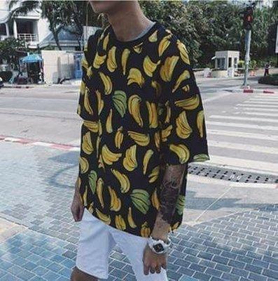 韓國簡約 水果 滿版 五分袖 香蕉動物上衣 開叉 高品質 上衣 潮流衣