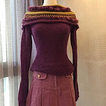 《寶兒花園》IN 紫色羊毛金蔥毛海條紋平肩長袖針織毛衣