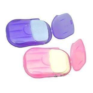 【TwinS伯澄】《攜帶型紙片香皂20入》環保可完全溶於水【顏色隨機】