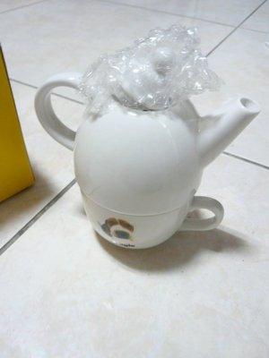 全新大頭狗 白色馬克杯+白色茶壺