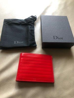 [熊熊之家3]保證全新正品 Dior Homme DH 紅色漆皮  八卡  短夾  皮夾