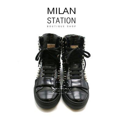 【台中米蘭站】PP 黑色鉚釘中筒靴鞋