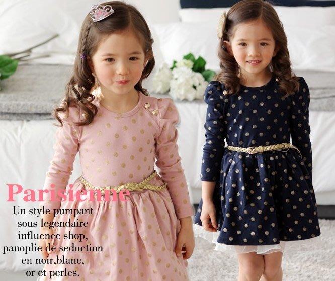 韓版《金色波點款》甜美長袖洋裝 (J3-4)