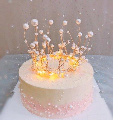 皇冠裝飾道具 蛋糕裝飾 少女珍珠皇冠 烘培派對主題甜品佈置配飾_☆找好物FINDGOODS☆