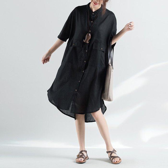 新款B160大碼不規則襯衫棉麻大口袋連衣裙/大碼休閒寬鬆時尚顯瘦修身設計款防曬禪風連身裙民族風復古單正品日韓款外套