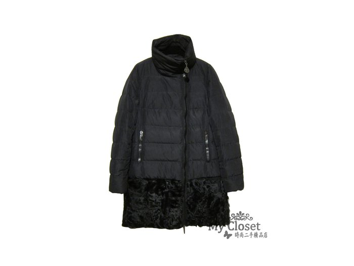 My Closet 二手名牌 MONCLER 黑色立領  皮草下襬 羽絨拉鍊長外套