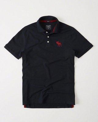 (男款) A&F 黑色POLO杉 紅logo